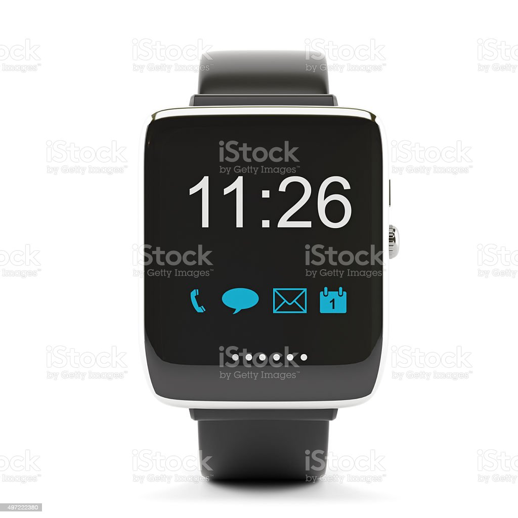 Smart Watch Displaying Apps Icons stock photo