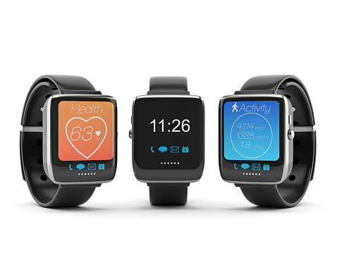 Smart watches on white background.