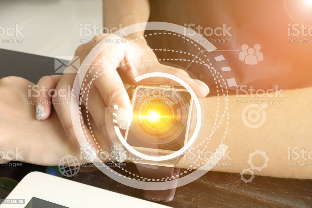smart watch on hand connection technology interface stock photo