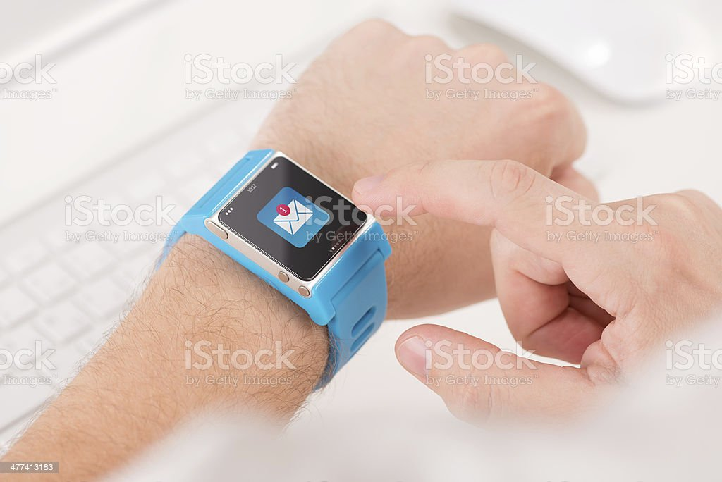 Smart watch on male hand with new unread message stock photo
