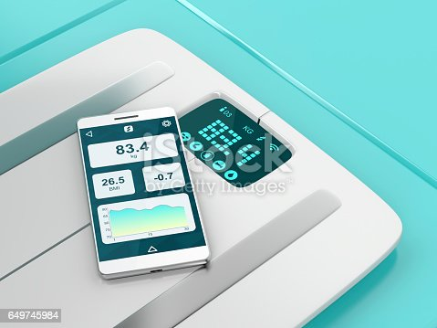 istock Smart weight scale and smartphone 649745984