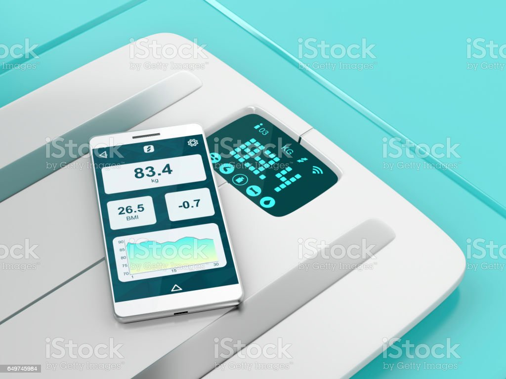 Smart weight scale and smartphone - foto de stock