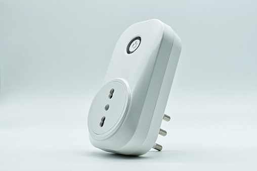 Smart WI-FI electrical outlet on a white background