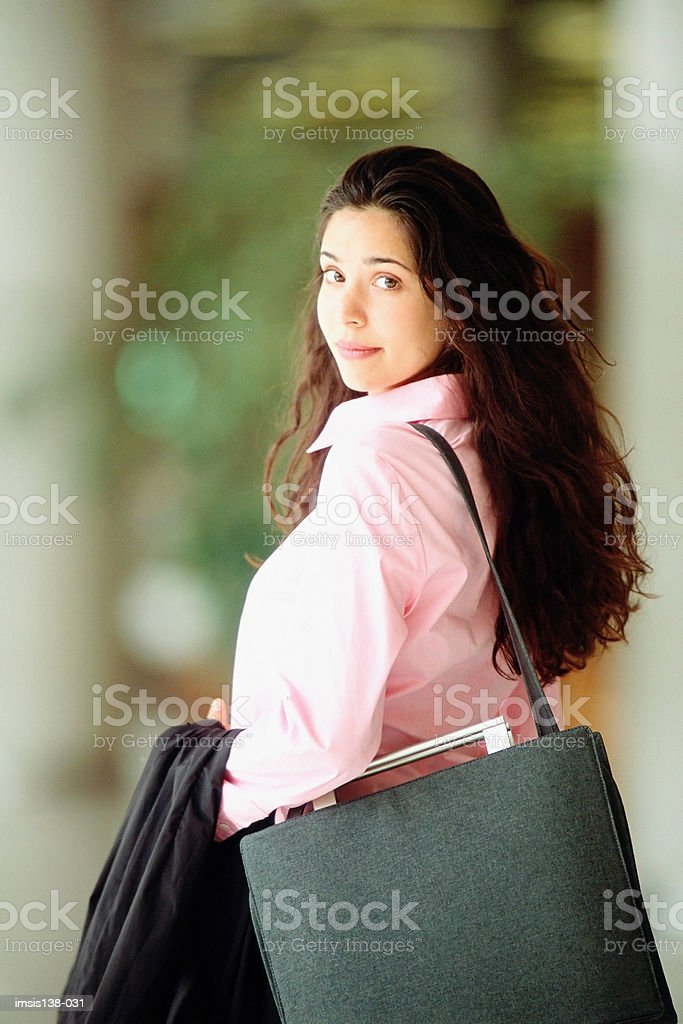 Smart woman with hand luggage royalty-free stock photo