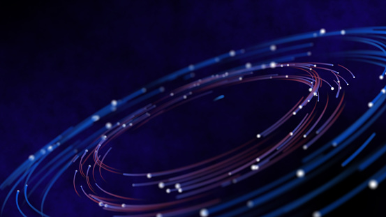 Smart world technology cyber orbits digital world technology IOT world concept. 3D neon light globe star orbit shiny light backgrounds