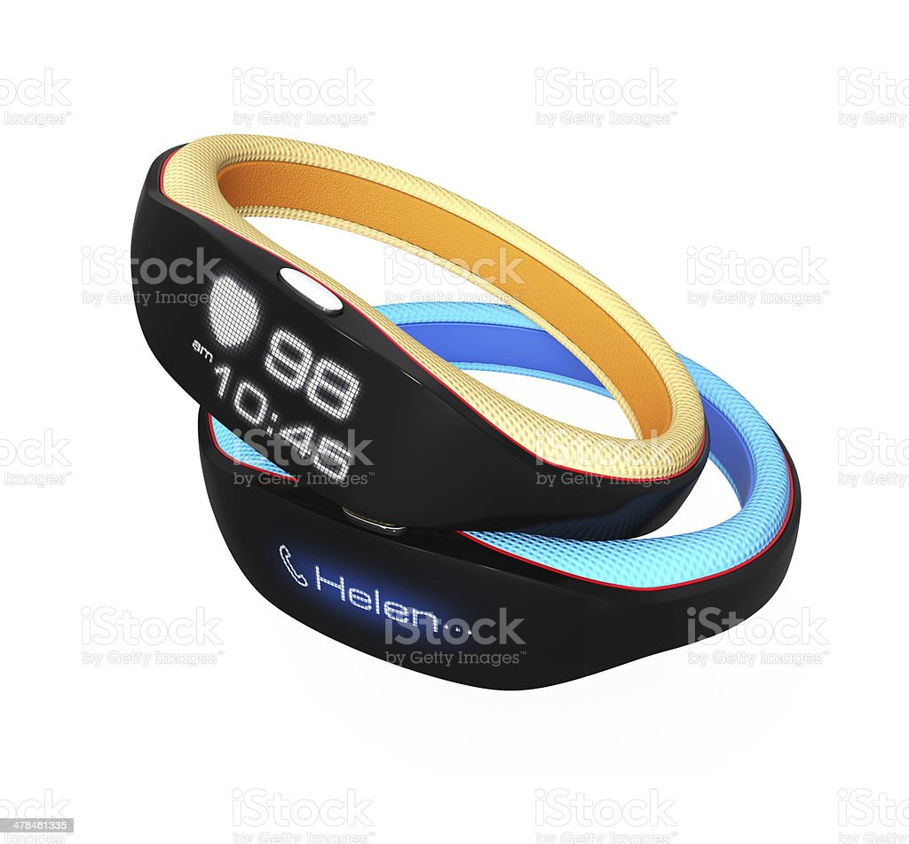 Smart wristband isolated on white background Smart wristband isolated on white background. displaying heart rate and time. 3D rendering with clipping path. Biology Stock Photo