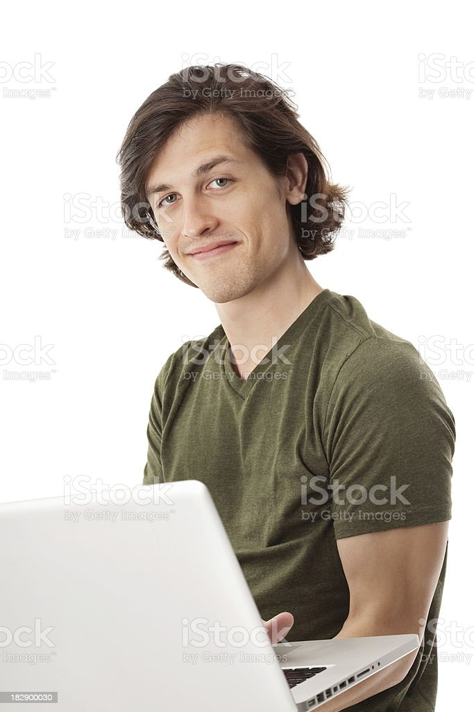 Smart Young Man Using Laptop While Standing royalty-free stock photo