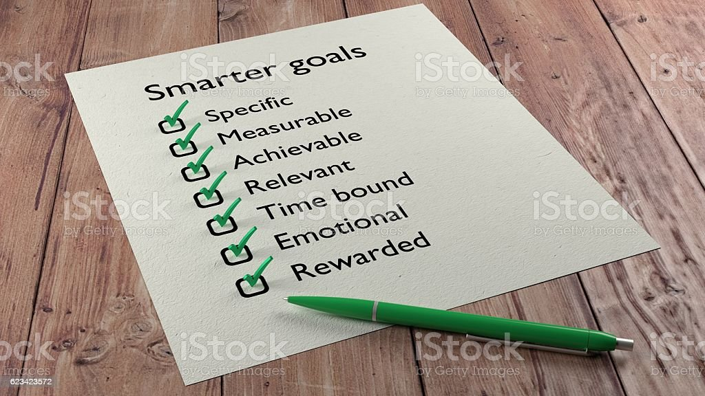 Smarter goals checklist ballpen and tick marks stock photo