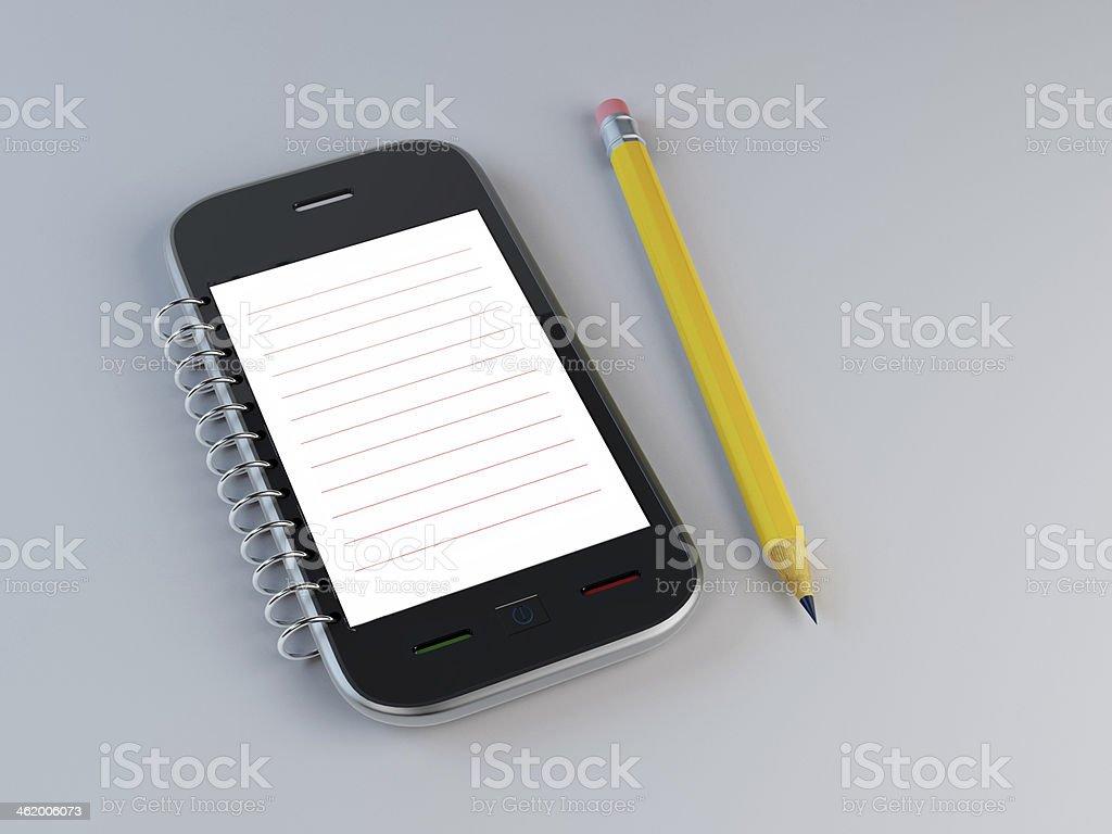 Smarthone Notizblock und einen Bleistift – Foto