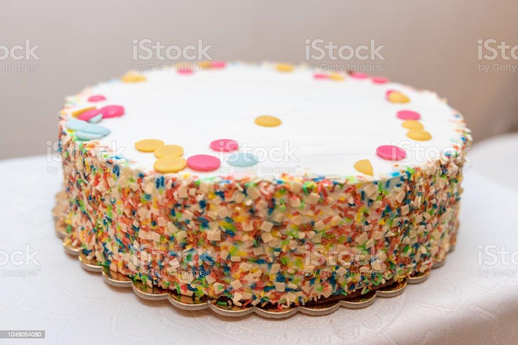 Smarties Kuchen Closeup Hintergrund Unscharf Stock Fotografie Und