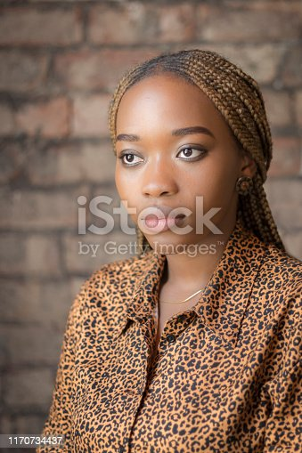 Smartly dressed woman looking serious