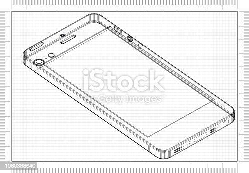 istock Smartphone 3D blueprint 1060388640