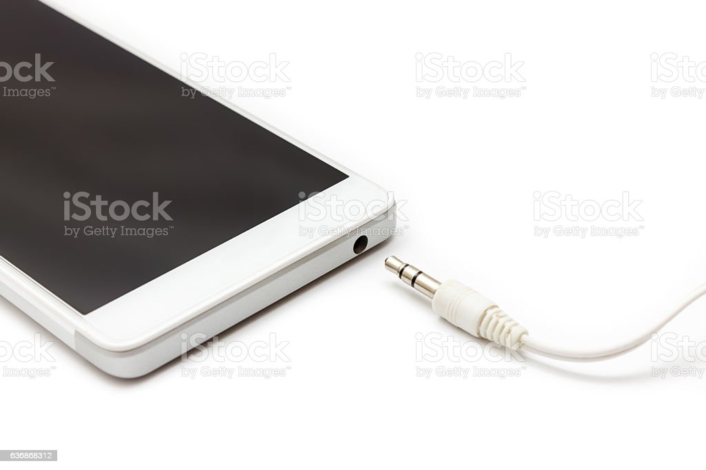 Smartphone and Audio Cable Disconnected stock photo