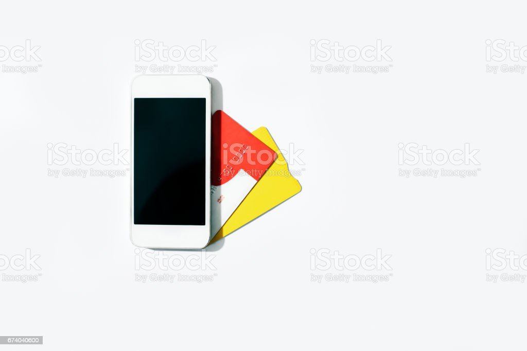 Smartphone and credit cards royalty-free stock photo
