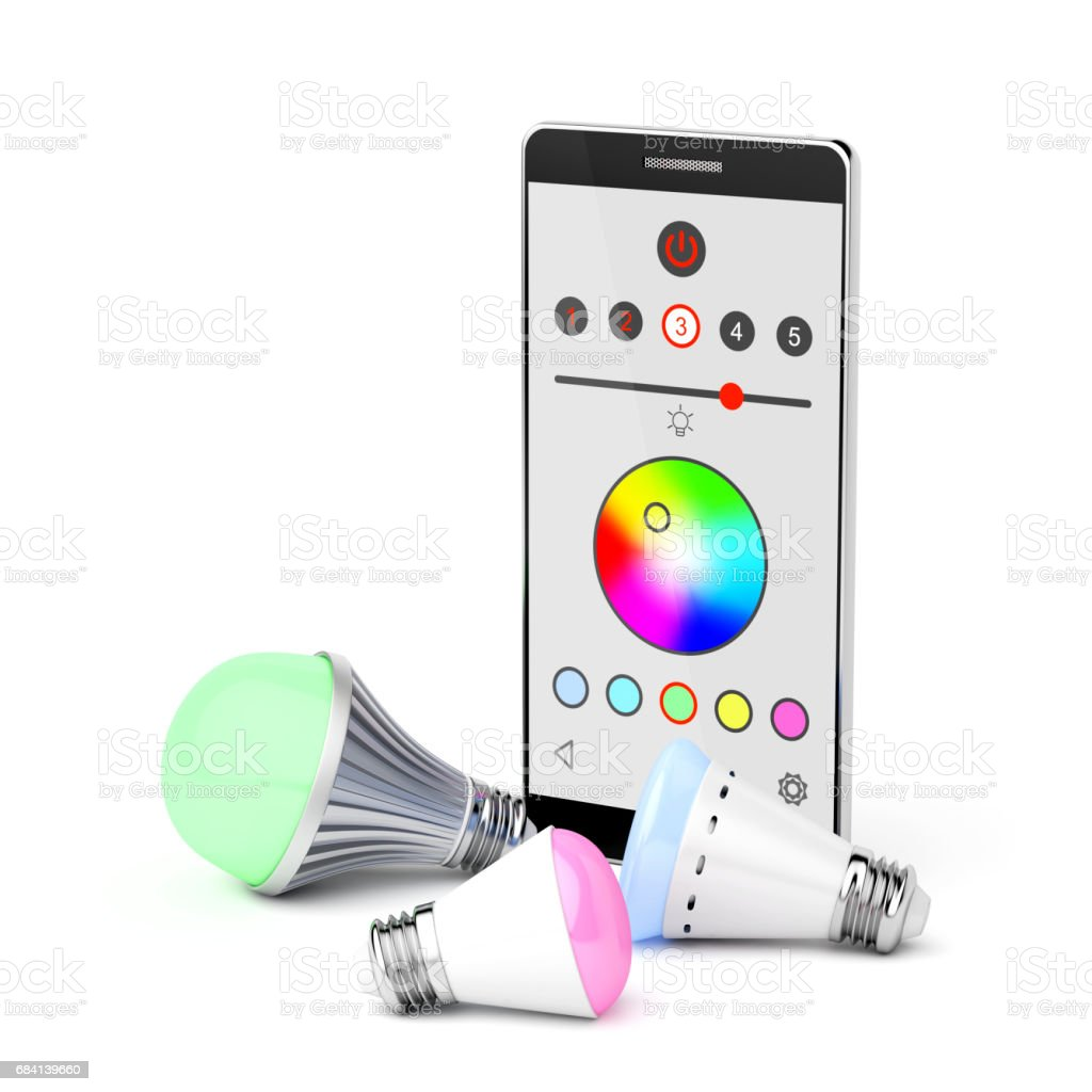 Smartphone and LED light bulbs foto de stock libre de derechos