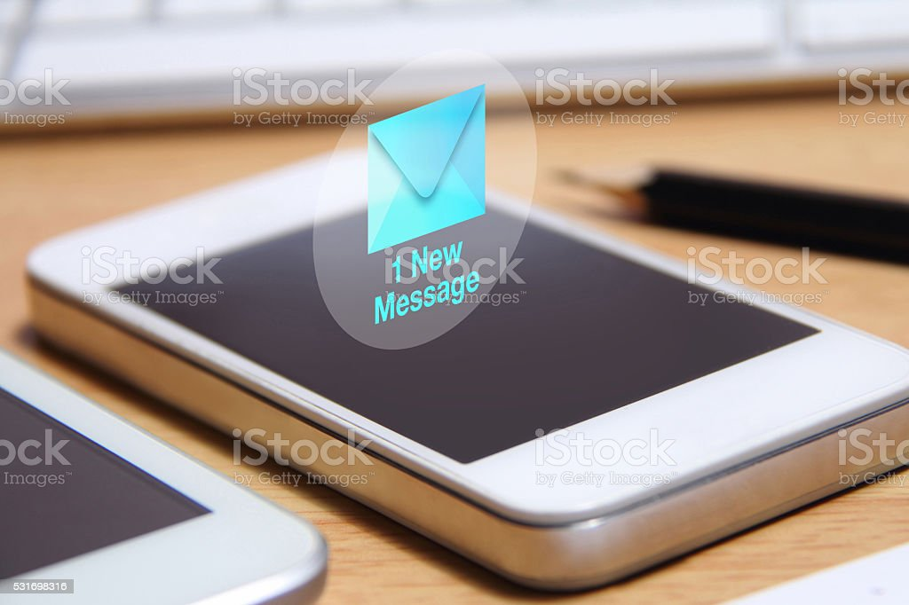 smartphone and new message icon stock photo
