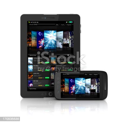 Full User interface of an online Library (renting or selling) service both for mobile and Tablet PCs, this concept is suitable for Books online store or library as well as Video library services..