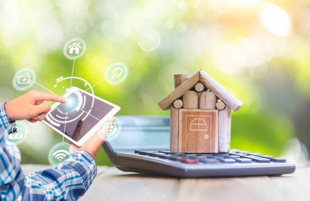 Smartphone application for online searching, buying, selling and booking real estate. stock photo