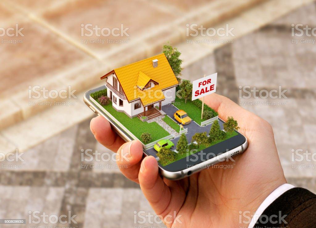 Smartphone-App für Online-Suche, Kauf, Verkauf und Buchung von Immobilien. Ungewöhnliche 3D-Illustration schöne Haus auf Smartphone in der hand – Foto