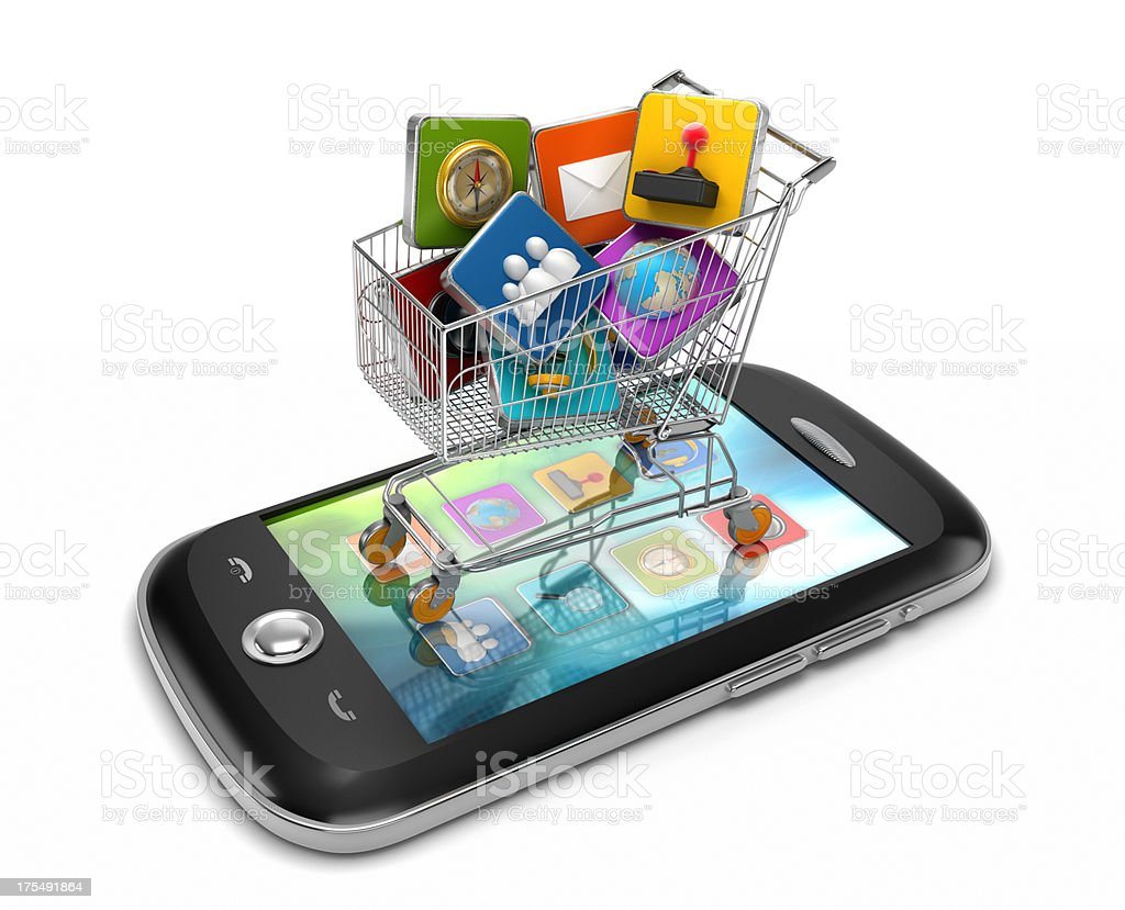 Smartphone applications shopping royalty-free stock photo