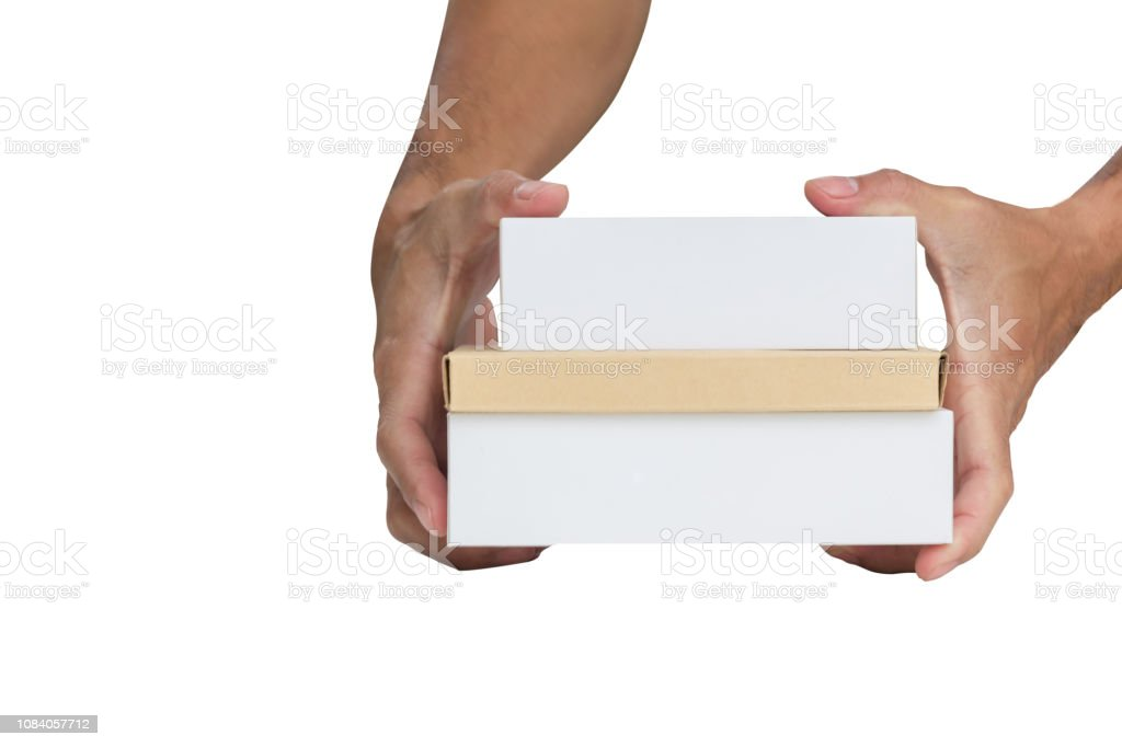 smartphone boxes on hand stock photo