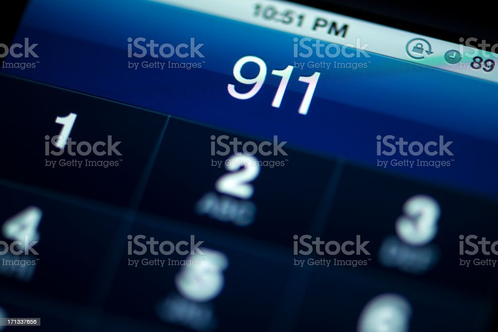 Smartphone Call to 911 royalty-free stock photo