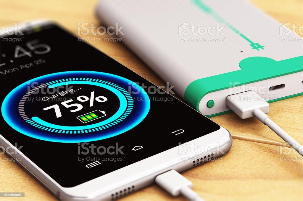 Smartphone aufladen mit macht Bank – Foto