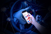 hand of a woman in the driver's seat and mobile stock composite photograph