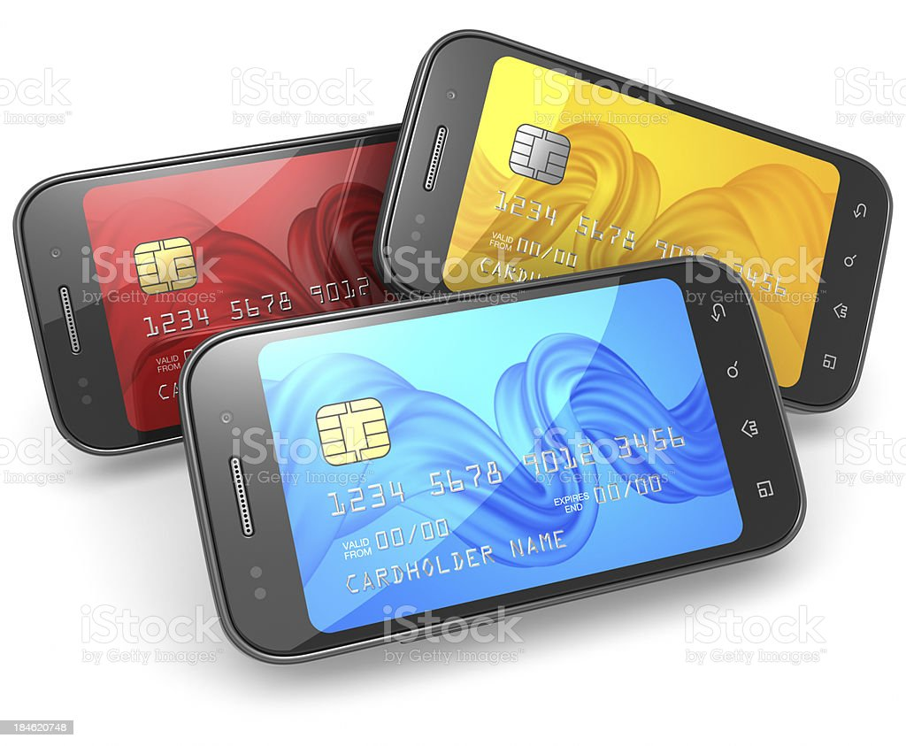 Smartphone credit cards royalty-free stock photo