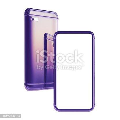 Smartphone bezel less blue, mockup