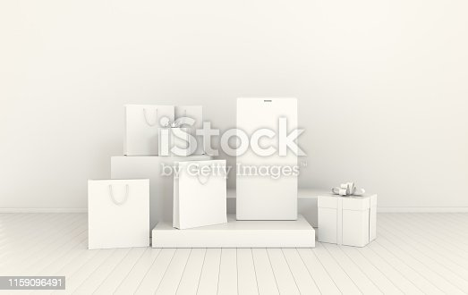 istock Smartphone, gift box, shopping bag mockup background in minimal style. Frameless  mobile phone 3d render. Technology gadget concept. Set of platforms, podium for product presentation 1159096491