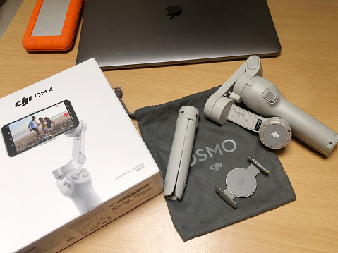 DJI OM4 Smartphone Gimbal and Packaging Box Outer directly above
