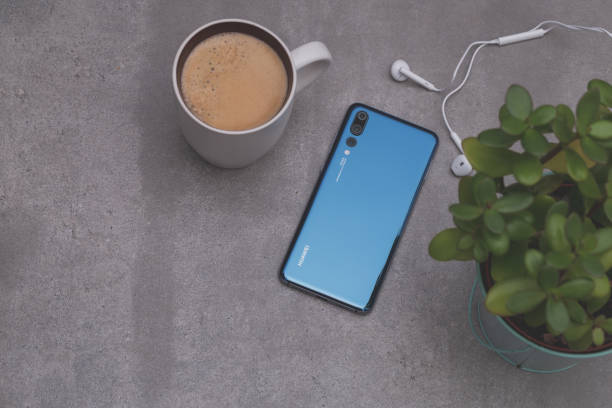 Smartphone Huawei P20 Pro in blue colour. stock photo