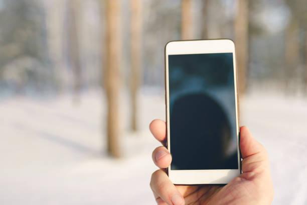 teléfono inteligente en mano en el bosque - foto de stock