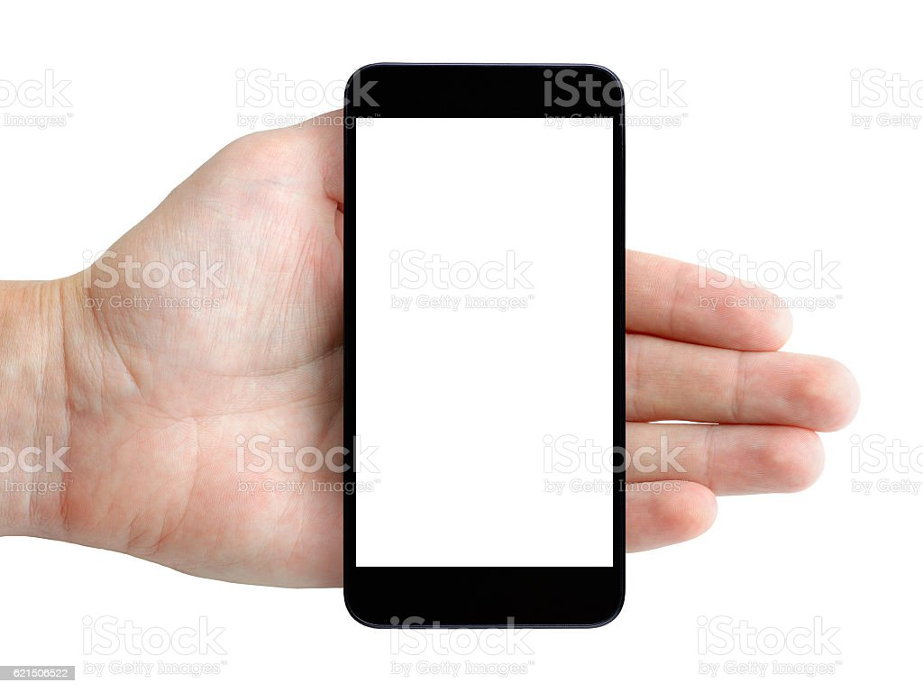 Smartphone in hand isolated on white background photo libre de droits