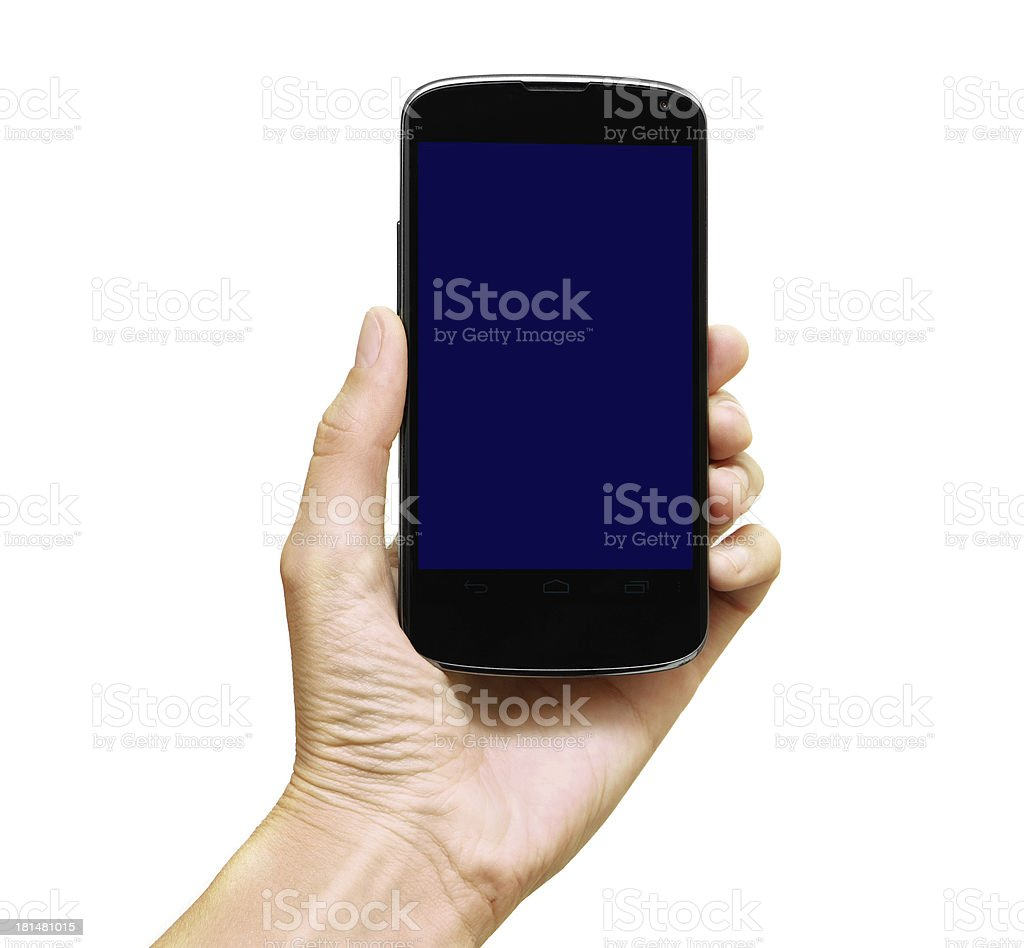 Smartphone in hand royalty-free stock photo