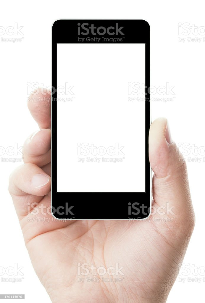 smartphone in hand with blank screen stock photo