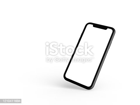 Smartphone in perspective - mockup front side with white screen and back side with camera. Mobile are one behind the other. Isolated on white background. 3D illustration.