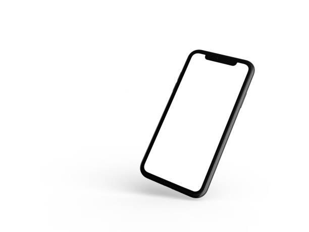smartphone in perspective - mockup front side with white screen - ponto de vista de filmagem imagens e fotografias de stock