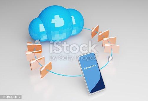 477843023 istock photo Smartphone in progress with cloud computer 1245929617