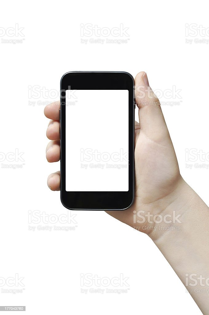 Smartphone in right hand royalty-free stock photo