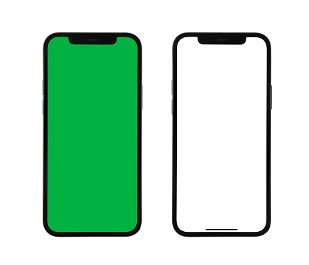 Smartphones isolated on white background. with clipping paths (screen and body) High resolution studio shot.
