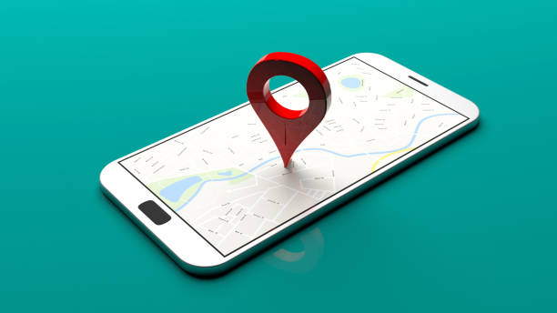 Smartphone - map pointer on the screen, green background. 3d illustration stock photo