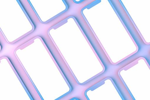 Smartphone, mockup, template for mobile application presentation on neon color background.