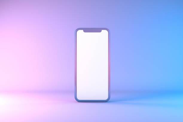 smartphone mobile application präsentation mockup neon colored - neontasche stock-fotos und bilder