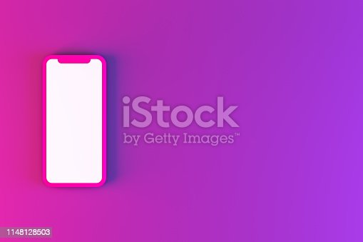 istock Smartphone Mobile Application Presentation Mockup Neon Colored 1148128503