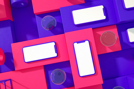 3d rendering of Smartphone, mockup, template for mobile application presentation on cube blocks background.