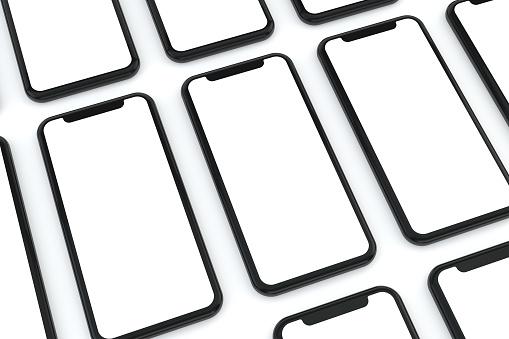 Smartphone, mockup, template for mobile application presentation on flat background.