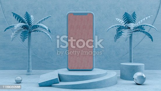 istock Smartphone Mobile Application Presentation Mockup with 3D Geometric Shapes and Podium 1159030588