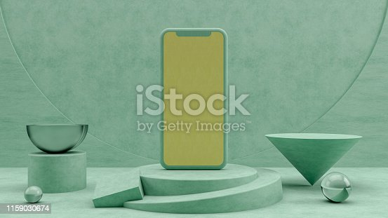 istock Smartphone Mobile Application Presentation Mockup with 3D Geometric Shapes and Podium 1159030674